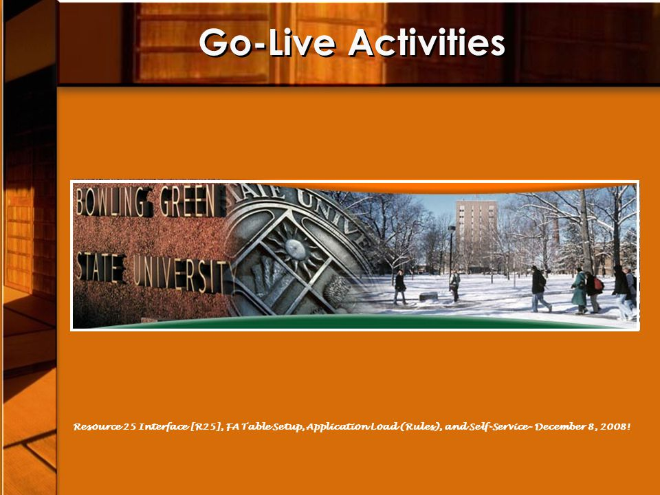 Go-Live Activities Resource 25 Interface [R25], FA Table Setup, Application Load (Rules), and Self-Service- December 8, 2008!